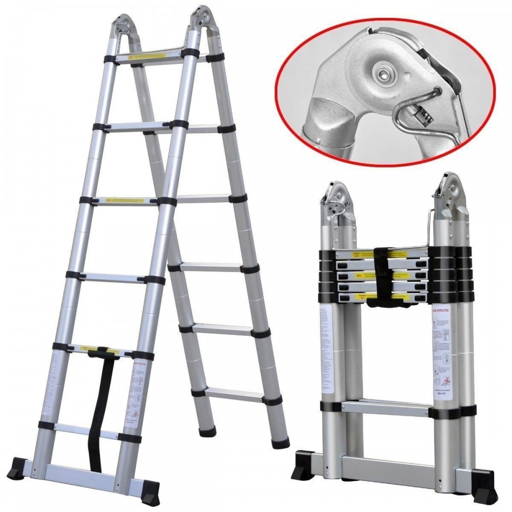 Escalera de aluminio telescopica 4 4m multiuso for Taburete escalera plegable plastico